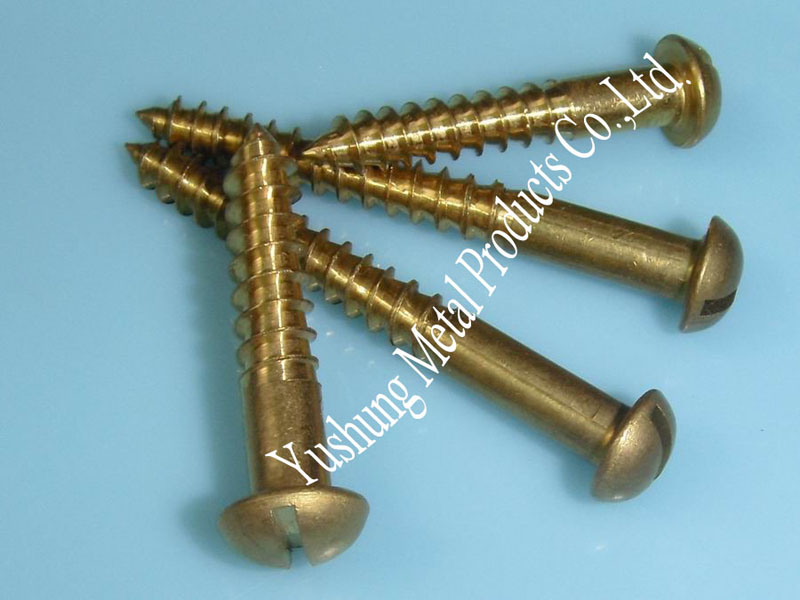 Brass slotted round head wood screw