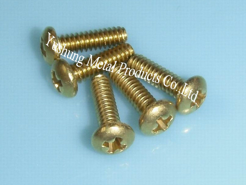 Brass phillips pan head machine screw