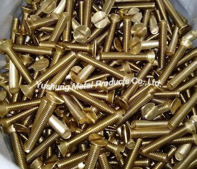 Brass slotted flat head machine screw