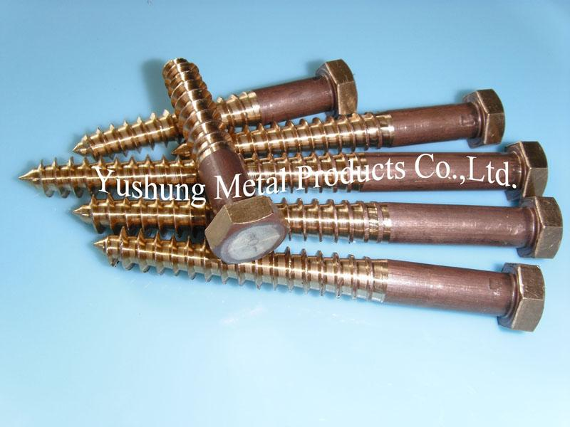 Silicon bronze hex lag bolt with cutting threads