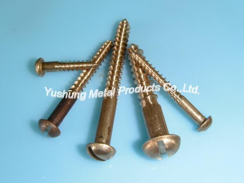 Silicon bronze slotted round head wood screw
